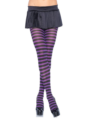 Black and Purple Striped Pantyhose