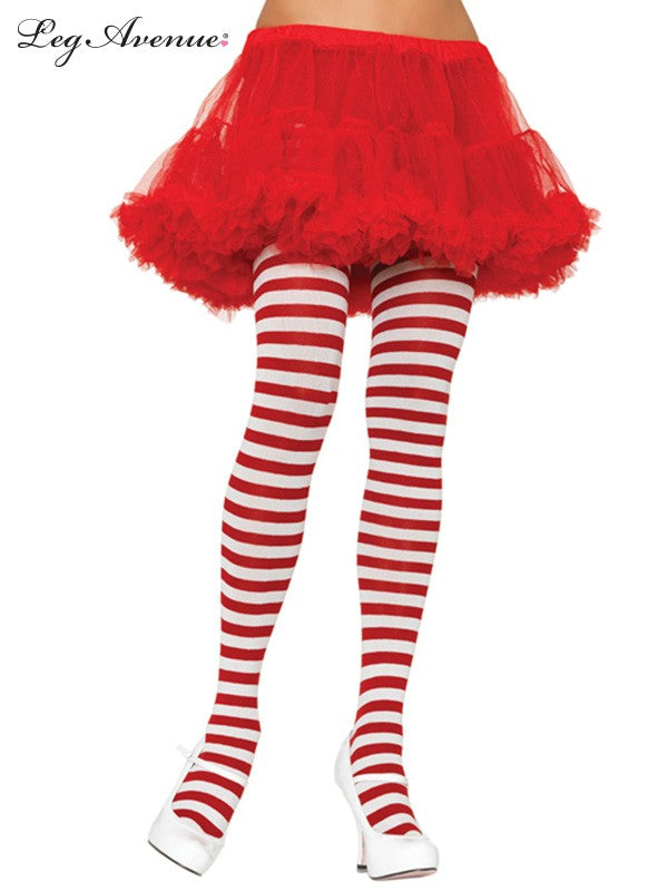 Red and White Striped Opaque Tights