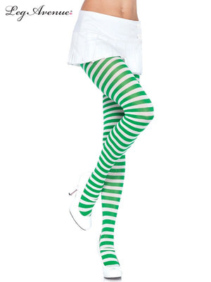 Green and White Striped Pantyhose