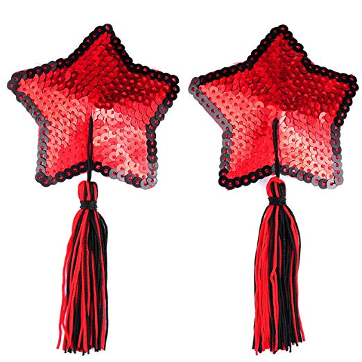 Red Sequin Star Nipple Tassels