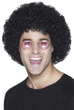 Men's Black Curly Afro Wig
