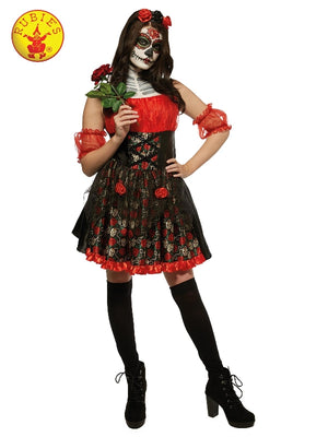 Ladies Red Rose Day of the Dead Costume