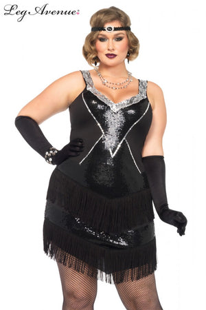 Plus Size Black and Silver Great Gatsby Costume
