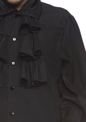 Men's Black Ruffled Shirt