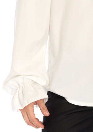 Men's White Ruffled Shirt