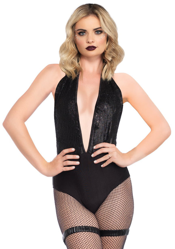 Black Sequin Plunging Bodysuit