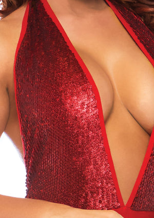 Red Sequin Plunging Bodysuit