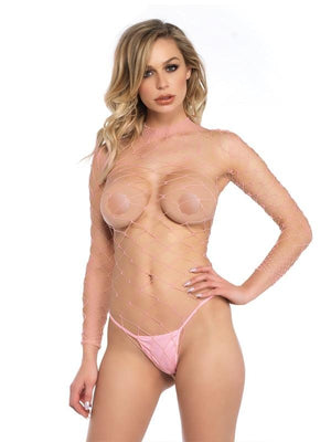 High Necked Pink Fishnet Bodysuit