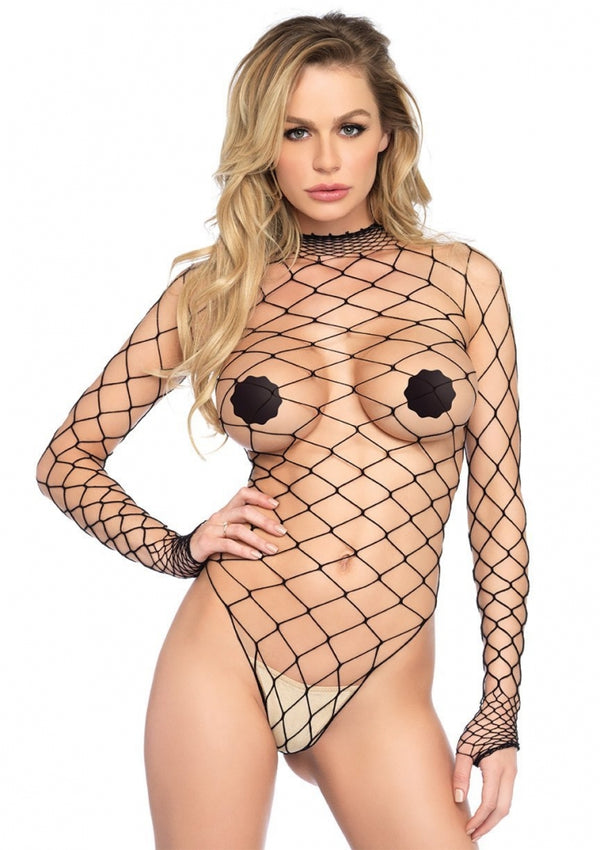 High Necked Black Fishnet Bodysuit