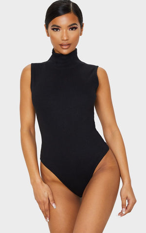 Black Opaque High Necked Bodysuit