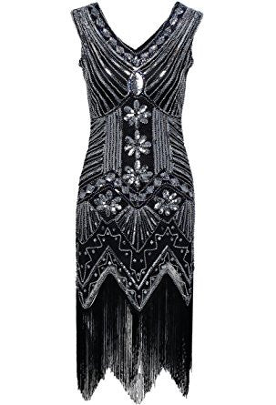 Black Sequined 1920s Gatsby Dress Perth Hurly Burly
