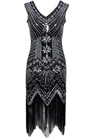 Black Sequined 1920's Gatsby Dress