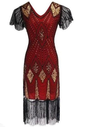 Black, Red and Gold Gatsby Dress
