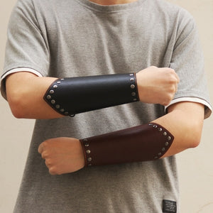 Brown Leather Roman Wrist Gauntlets