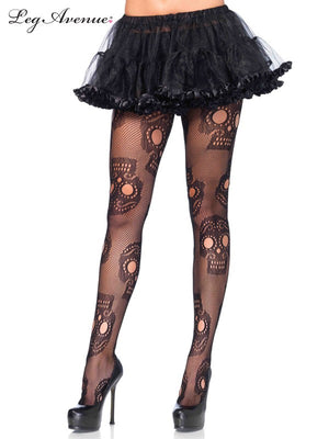 Day of the Dead Sugar Skull Fishnet Pantyhose