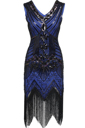 Blue Sequined 1920's Gatsby Dress