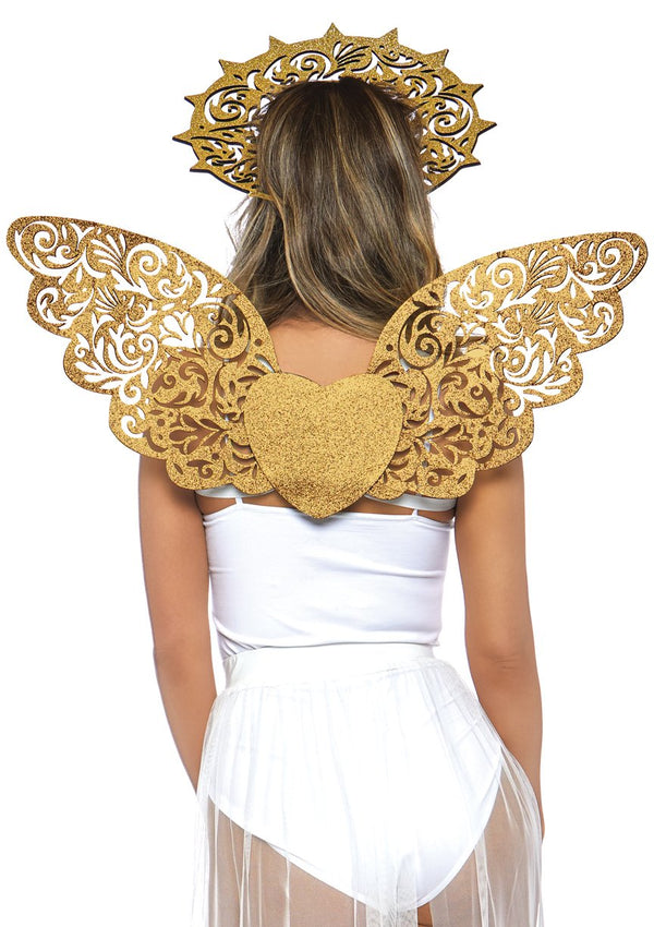 Golden Angel Glitter Wings and Headband