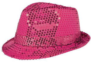 Hot Pink Sequined Fedora