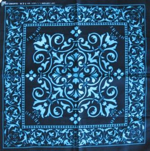 Black with Blue Print Bandana