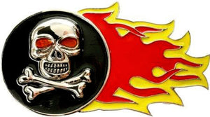Flaming Skull and Crossbones Belt Buckle