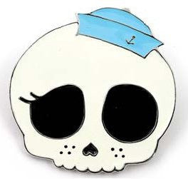 Cute Skull with little Blue Hat Belt Buckle