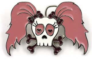 Cute Skull with Pony Tails Belt Buckle