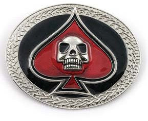 Skull and Spades Belt Buckle