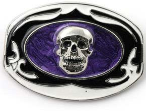 Skull in Purple Haze Belt Buckle