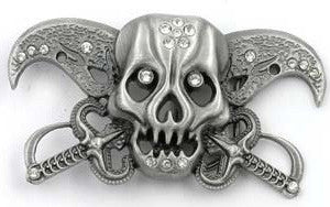 Skull with Pirate Swords Belt Buckle