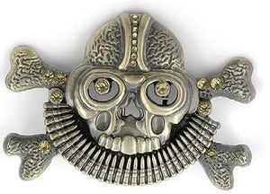 Skull & Crossbones with Bullet Necklace Belt Buckle