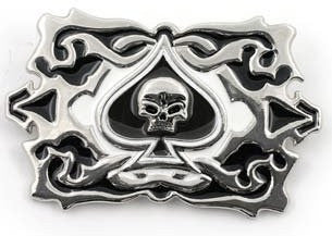 Skull and Spades on Decorative Belt Buckle