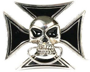 Skull in Iron Cross Belt Buckle