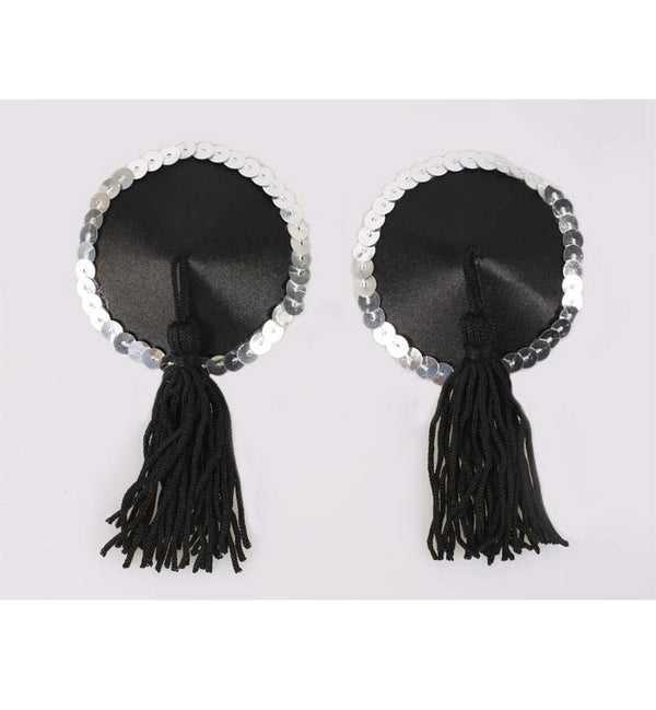 Black and Silver Round Nipple Tassels