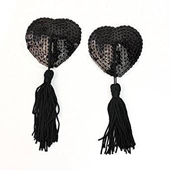 Heart Shaped Black Sequined Nipple Tassels