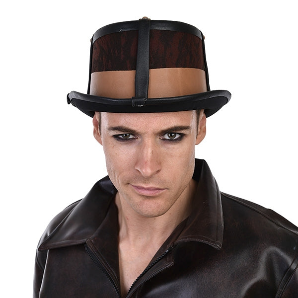 Brown and Black Steampunk Top Hat