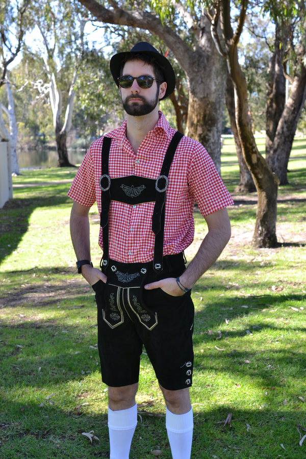 Black Authentic Leather German Lederhosen