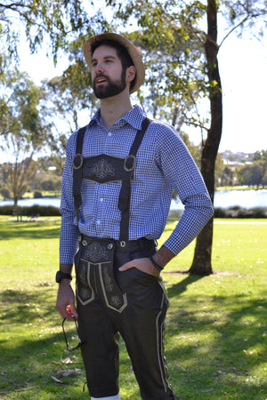 Long Authentic Leather German Lederhosen