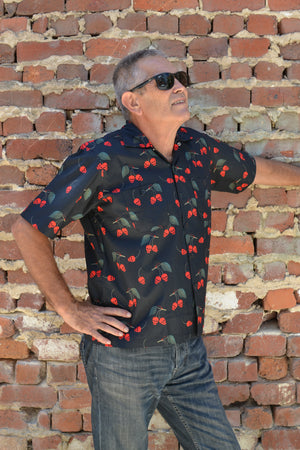Men's Retro Cherry Skulls Button Down Shirt