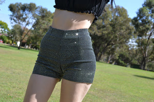 Black Diamante Covered Hot Pants