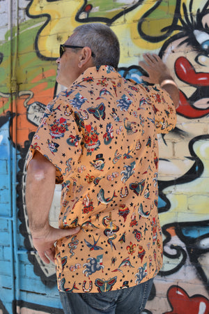 Tattoo Print Men's Button Down Shirt
