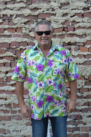 Green and Purple Hibiscus Leaf Button Down Shirt