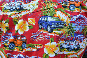 Red Hawaiian Car Print Button Down Shirt