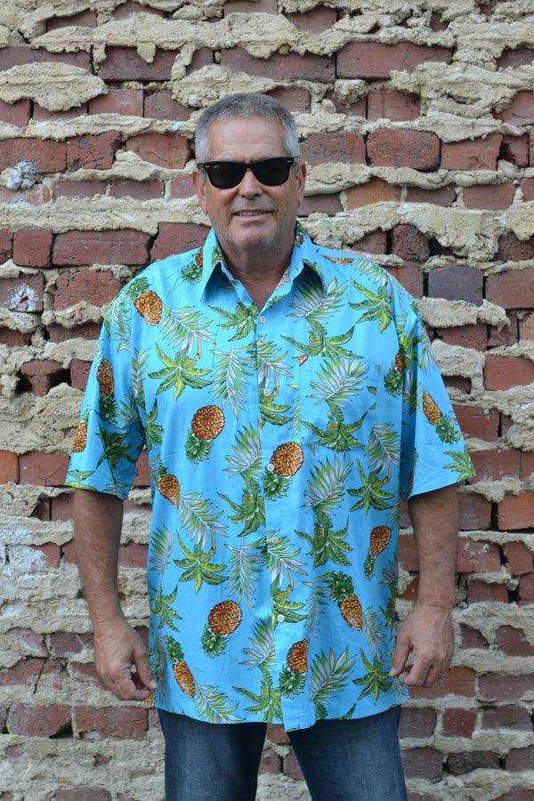 Blue Tropical Pineapple Print Button Down Shirt