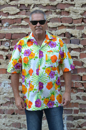 Orange and Purple Hibiscus Print Button Down Shirt