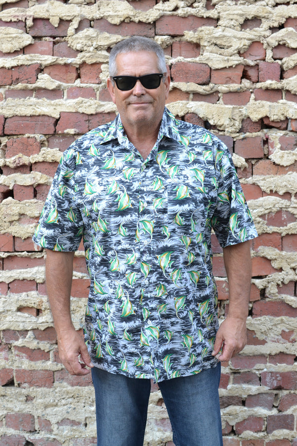 Grey and Green Angelfish Print Button Down Shirt