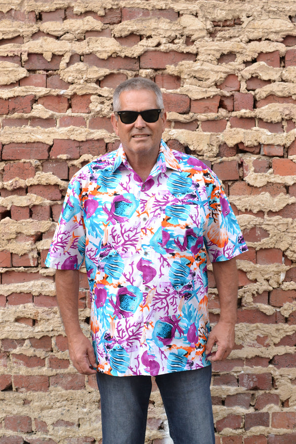 Purple and Blue Tropical Fish and Coral Print Button Down Shirt