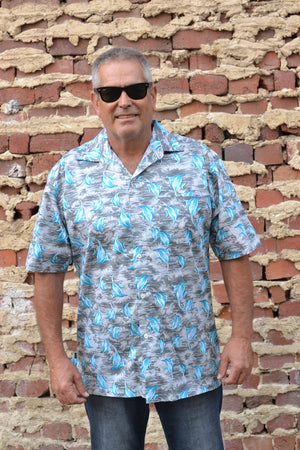 Grey and Blue Angelfish Print Button Down Shirt