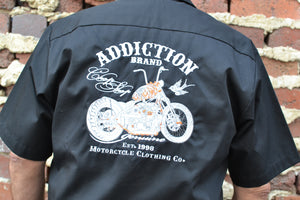Addiction Brand Chop Shop Embroidered Button Down Shirt