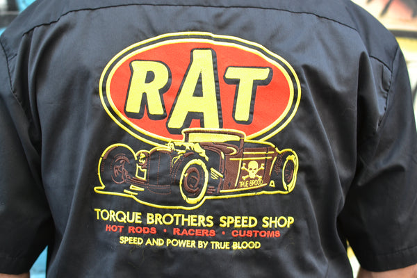 Rat Fink Speed Shop Embroidered Button Down Shirt
