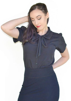 Ladies Black Bow Blouse